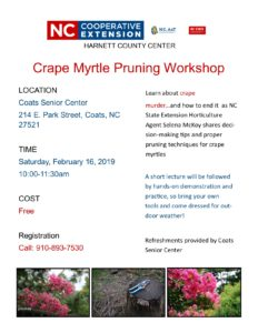 Cover photo for End Crape Murder - Check Out Our Upcoming Crape Myrtle Pruning Workshop!