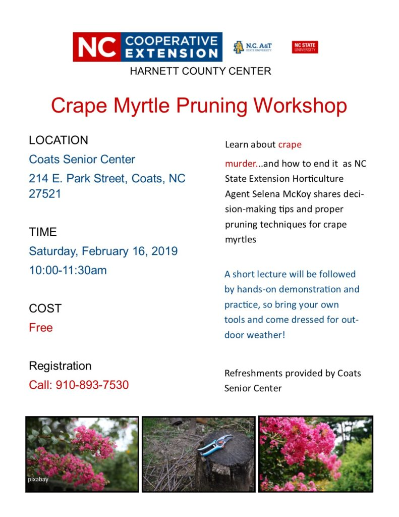 Crape Myrtle Pruning Workshop flyer